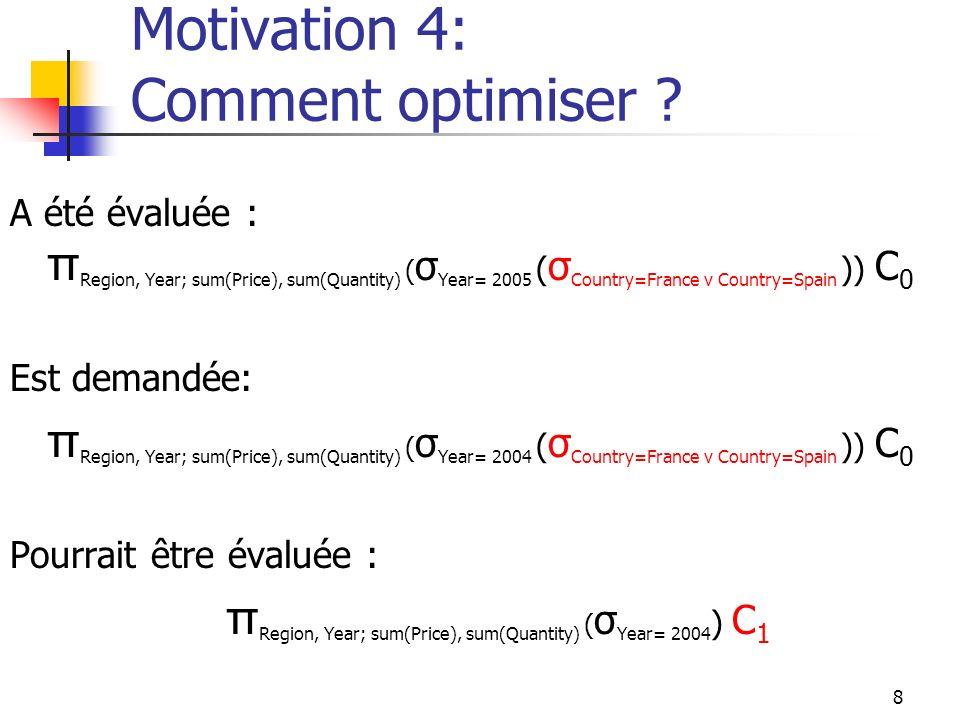 8 Motivation 4: Comment optimiser ? A été évaluée : π Region, Year; sum(Price), sum(Quantity) ( σ Year= 2005 ( σ Country=France v Country=Spain )) C 0
