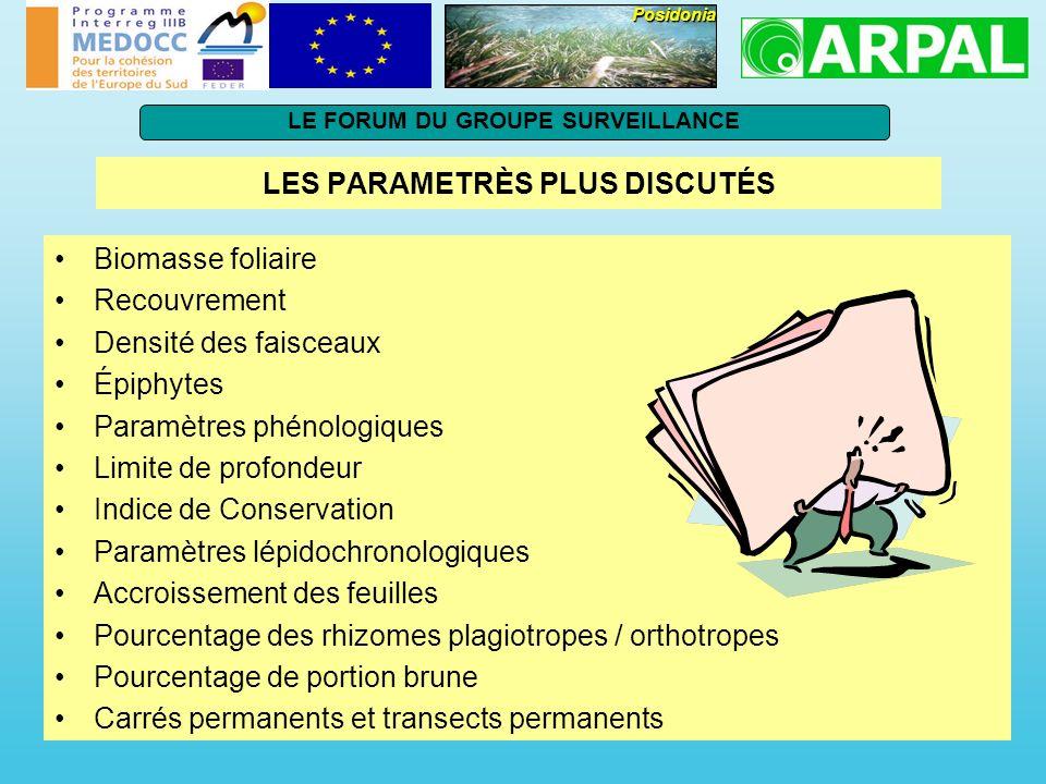 LES PARAMETRÈS PLUS DISCUTÉS Biomasse foliaire Recouvrement Densité des faisceaux Épiphytes Paramètres phénologiques Limite de profondeur Indice de Co