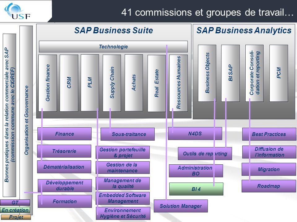 3 SAP Business Suite Gestion finance Organisation et Gouvernance Projet Technologie En création 41 commissions et groupes de travail… CRMSupply Chain