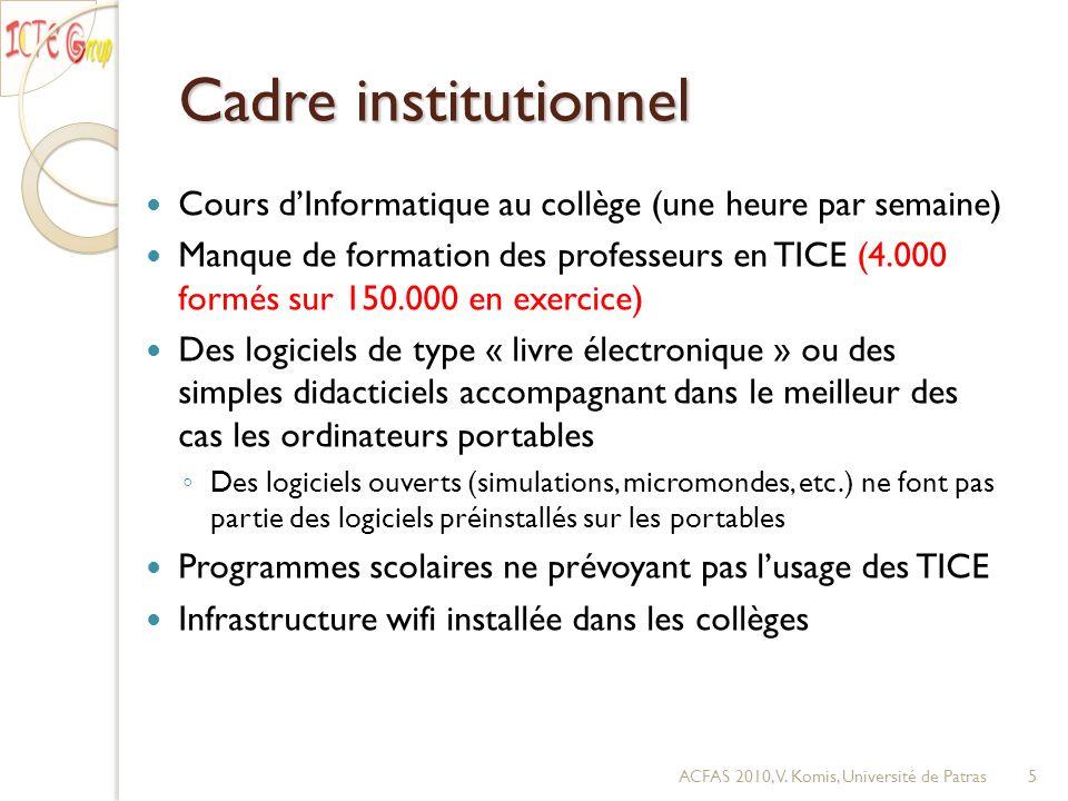 Cadre institutionnel Cours dInformatique au collège (une heure par semaine) Manque de formation des professeurs en TICE (4.000 formés sur 150.000 en e
