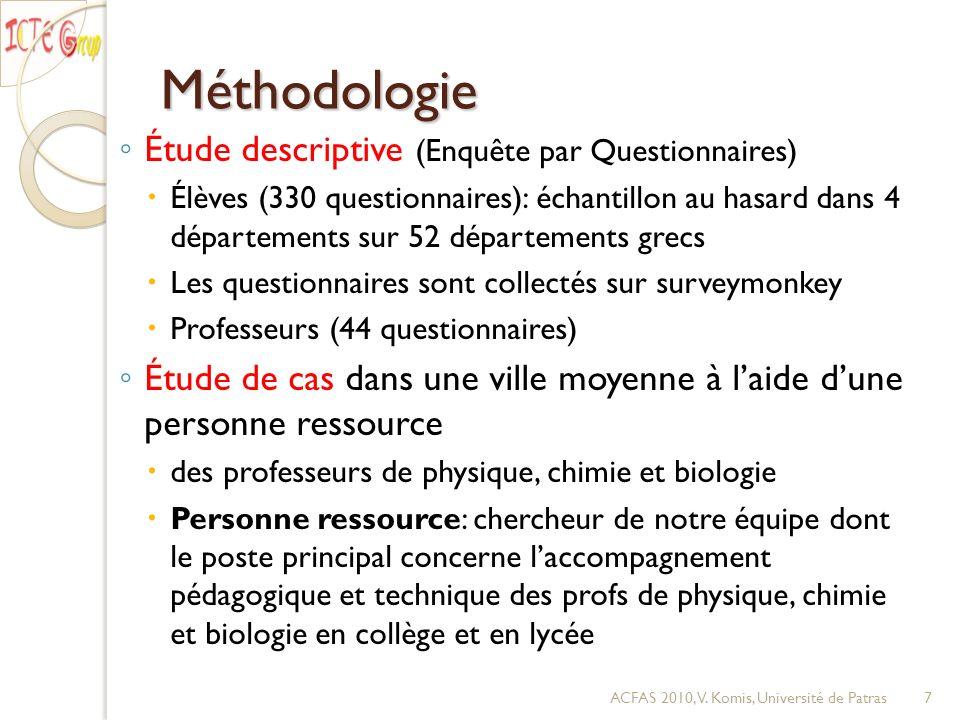 Méthodologie Étude descriptive (Enquête par Questionnaires) Élèves (330 questionnaires): échantillon au hasard dans 4 départements sur 52 départements