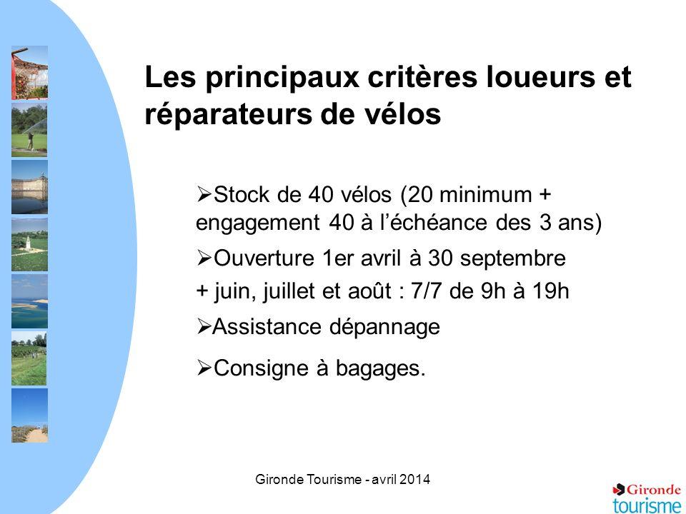Gironde Tourisme - avril 2014 Les principaux critères loueurs et réparateurs de vélos Stock de 40 vélos (20 minimum + engagement 40 à léchéance des 3