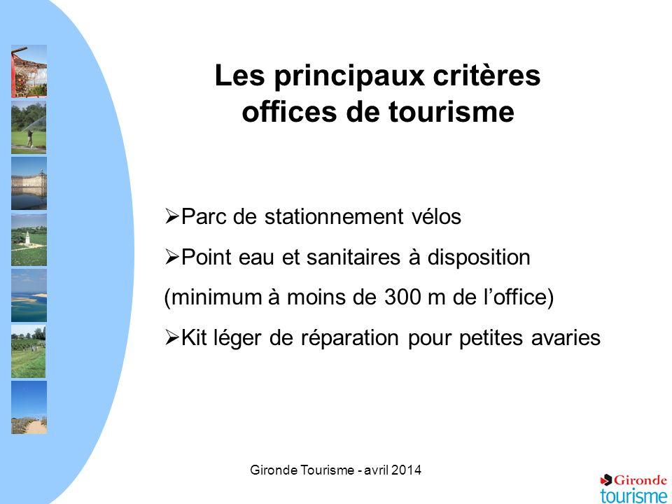 Gironde Tourisme - avril 2014 Les principaux critères offices de tourisme Parc de stationnement vélos Point eau et sanitaires à disposition (minimum à