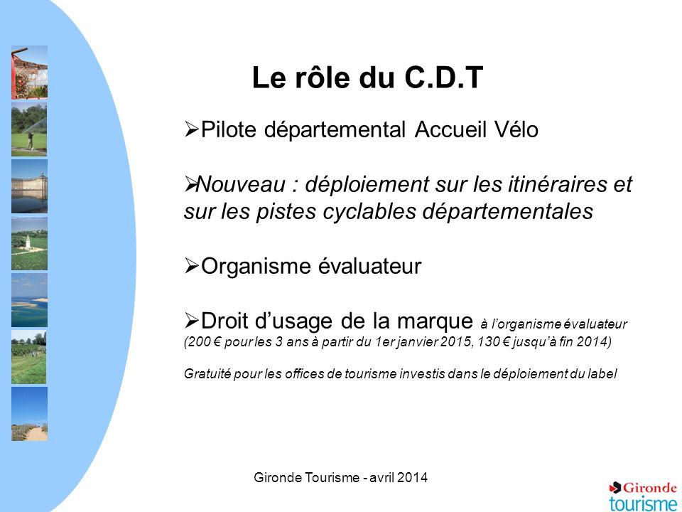 Gironde Tourisme - avril 2014 Le rôle du C.D.T Pilote départemental Accueil Vélo Nouveau : déploiement sur les itinéraires et sur les pistes cyclables