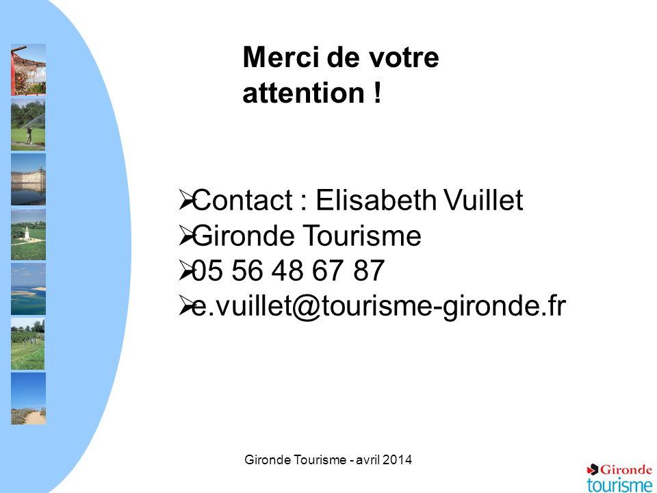 Gironde Tourisme - avril 2014 Merci de votre attention ! Contact : Elisabeth Vuillet Gironde Tourisme 05 56 48 67 87 e.vuillet@tourisme-gironde.fr