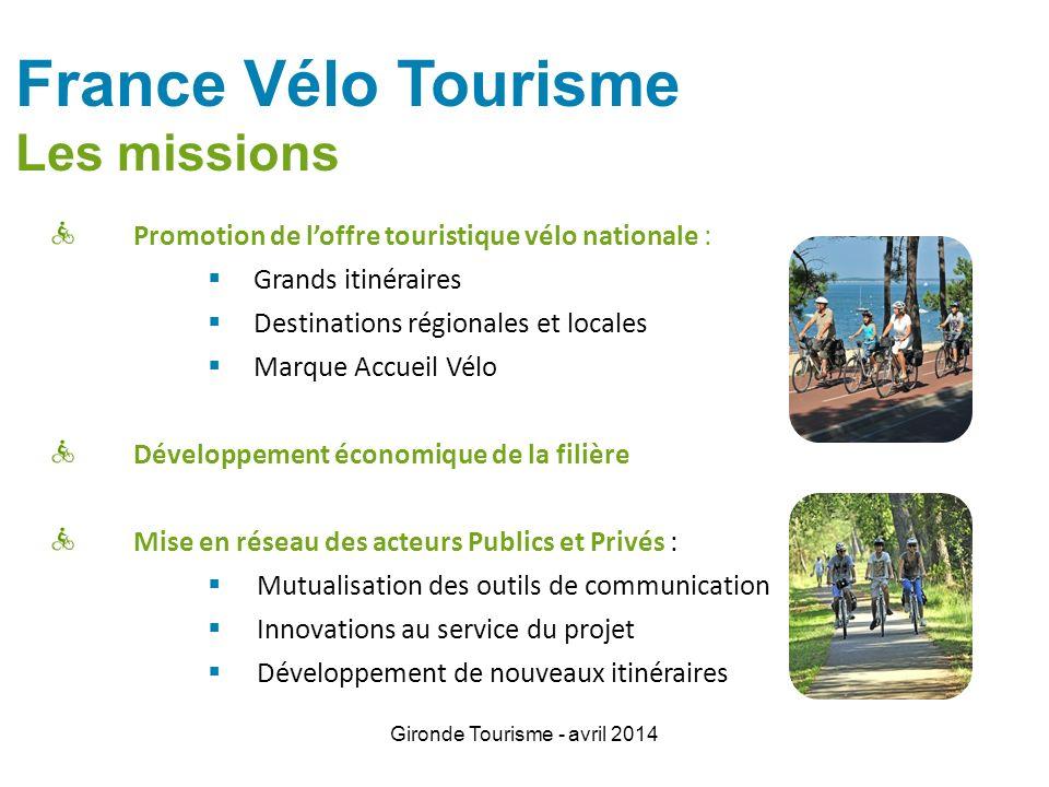 Gironde Tourisme - avril 2014 Promotion de loffre touristique vélo nationale : Grands itinéraires Destinations régionales et locales Marque Accueil Vé