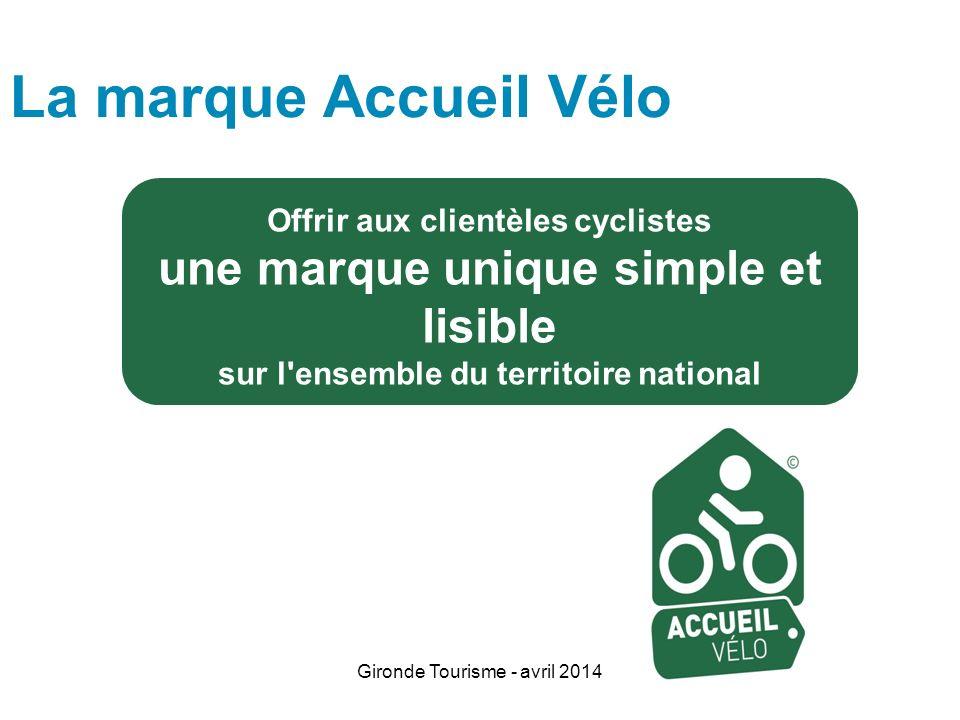 Gironde Tourisme - avril 2014 Offrir aux clientèles cyclistes une marque unique simple et lisible sur l'ensemble du territoire national La marque Accu