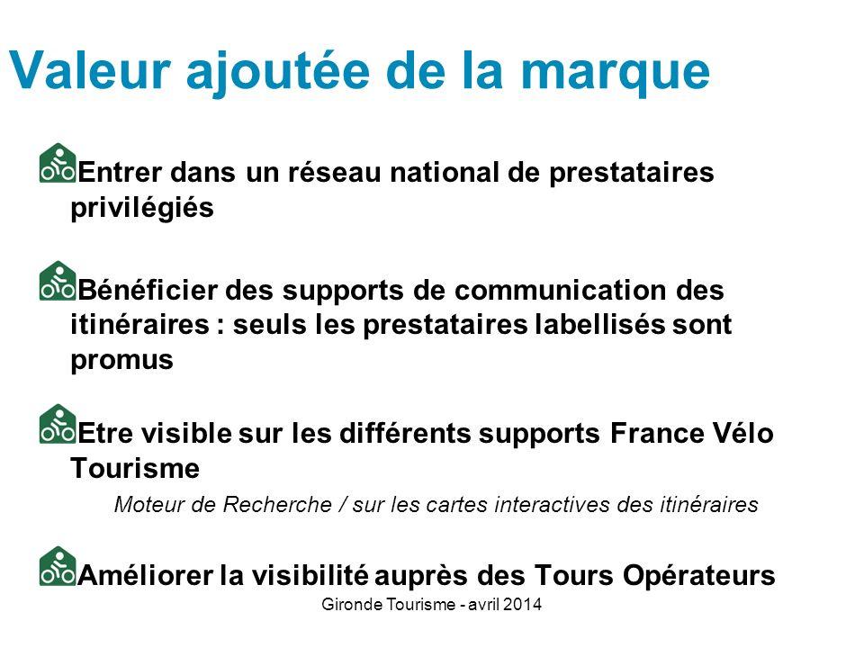 Gironde Tourisme - avril 2014 Valeur ajoutée de la marque Entrer dans un réseau national de prestataires privilégiés Bénéficier des supports de commun