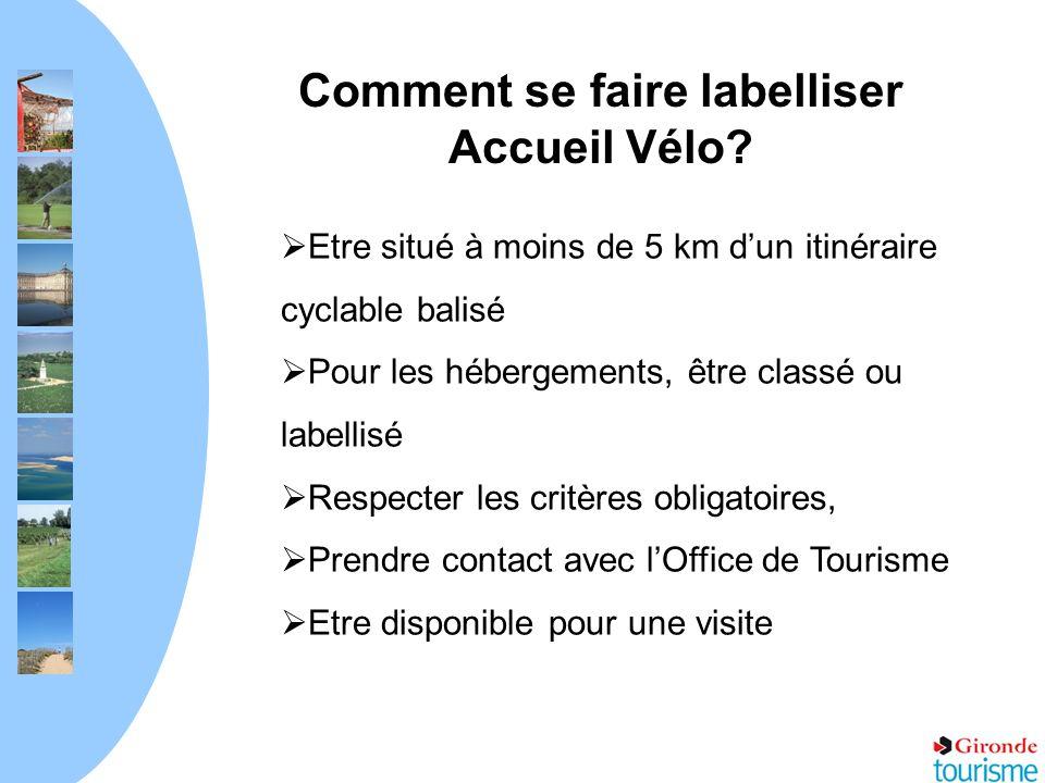 Comment se faire labelliser Accueil Vélo? Etre situé à moins de 5 km dun itinéraire cyclable balisé Pour les hébergements, être classé ou labellisé Re