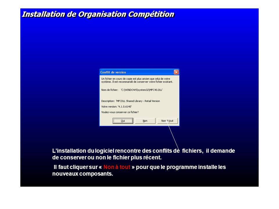 Linstallation du logiciel rencontre des conflits de fichiers, il demande de conserver ou non le fichier plus récent.