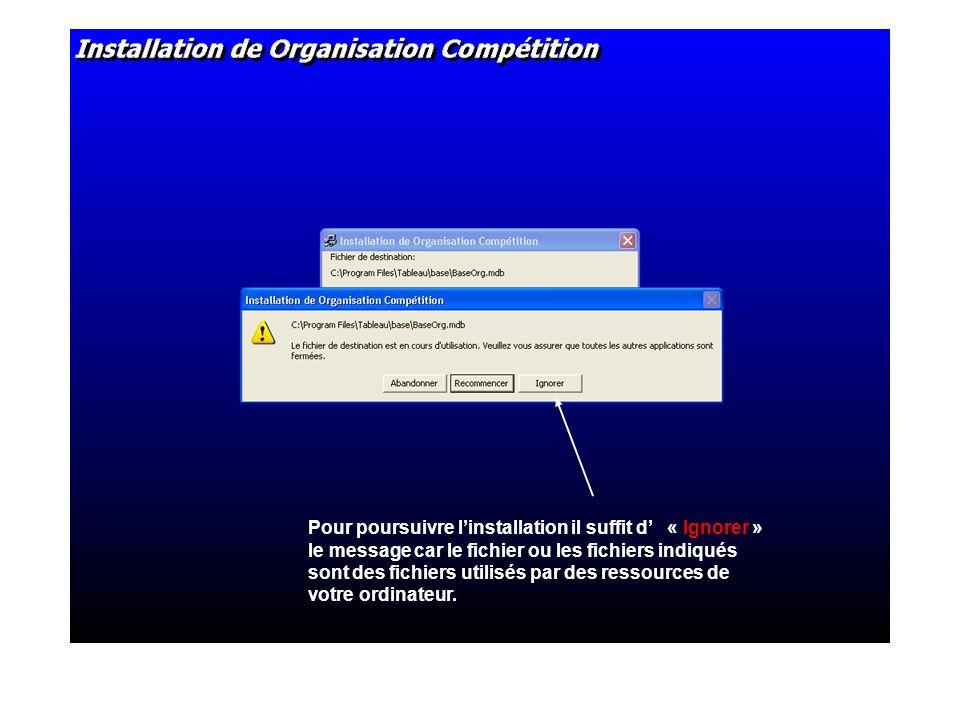 Pour poursuivre linstallation il suffit d « Ignorer » le message car le fichier ou les fichiers indiqués sont des fichiers utilisés par des ressources de votre ordinateur.