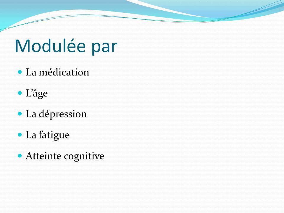 Modulée par La médication Lâge La dépression La fatigue Atteinte cognitive