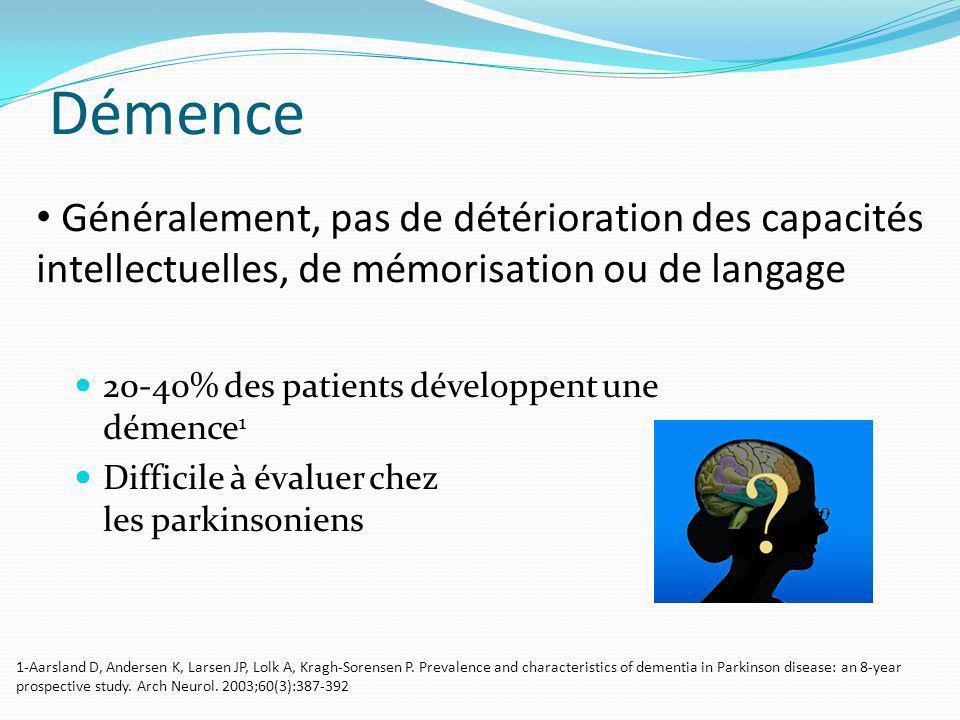 Démence 20-40% des patients développent une démence 1 Difficile à évaluer chez les parkinsoniens Généralement, pas de détérioration des capacités inte
