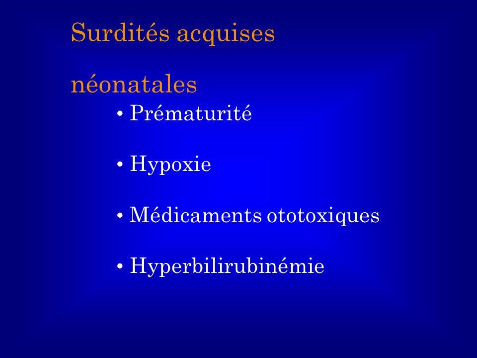 Prématurité Hypoxie Médicaments ototoxiques Hyperbilirubinémie Surdités acquises néonatales