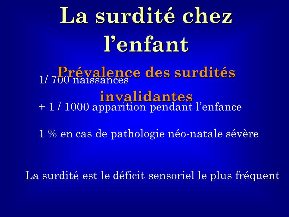 1/ 700 naissances + 1 / 1000 apparition pendant lenfance 1 % en cas de pathologie néo-natale sévère La surdité est le déficit sensoriel le plus fréque
