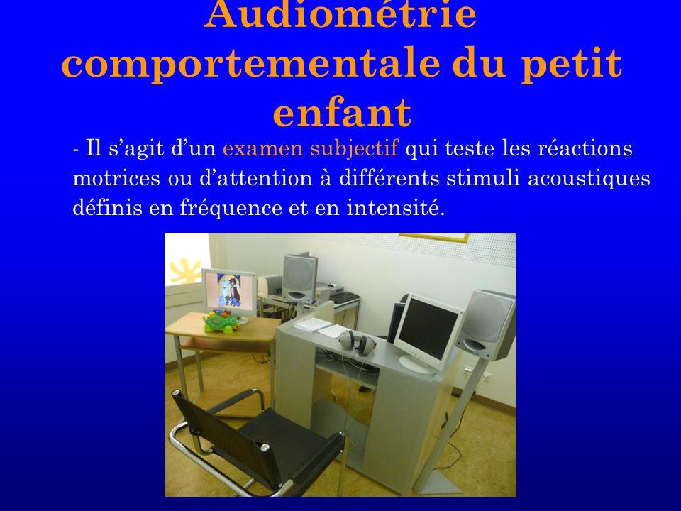 - Il sagit dun examen subjectif qui teste les réactions motrices ou dattention à différents stimuli acoustiques définis en fréquence et en intensité.