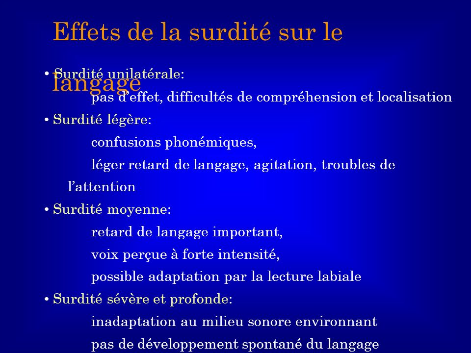 Effets de la surdité sur le langage Surdité unilatérale: pas deffet, difficultés de compréhension et localisation Surdité légère: confusions phonémiqu