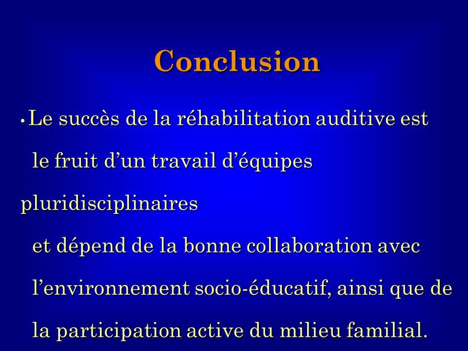 Le succès de la réhabilitation auditive est le fruit dun travail déquipes pluridisciplinaires le fruit dun travail déquipes pluridisciplinaires et dép