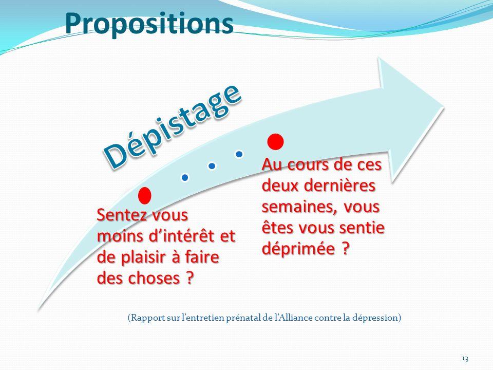 13 Propositions (Rapport sur lentretien prénatal de lAlliance contre la dépression)