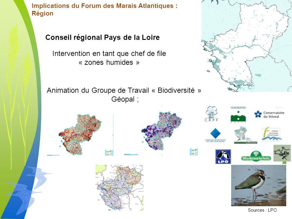 Implications du Forum des Marais Atlantiques : Région Conseil régional Pays de la Loire Intervention en tant que chef de file « zones humides » Animation du Groupe de Travail « Biodiversité » Géopal ; Sources : LPO