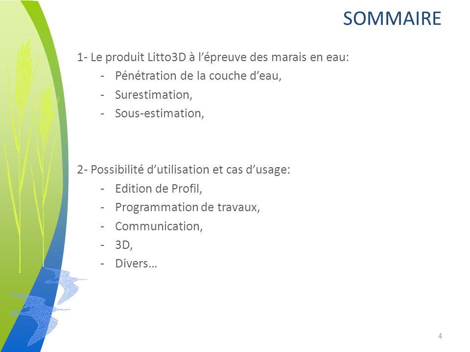1- Le produit Litto3D à lépreuve des marais en eau: -Pénétration de la couche deau, -Surestimation, -Sous-estimation, 2- Possibilité dutilisation et cas dusage: -Edition de Profil, -Programmation de travaux, -Communication, -3D, -Divers… SOMMAIRE 4