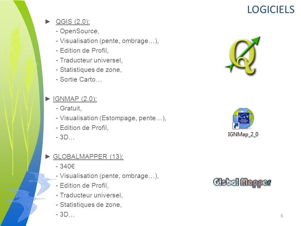 LOGICIELS QGIS (2.0): - OpenSource, - Visualisation (pente, ombrage…), - Edition de Profil, - Traducteur universel, - Statistiques de zone, - Sortie Carto… IGNMAP (2.0): - Gratuit, - Visualisation (Estompage, pente…), - Edition de Profil, - 3D… GLOBALMAPPER (13): - 340 - Visualisation (pente, ombrage…), - Edition de Profil, - Traducteur universel, - Statistiques de zone, - 3D… 6