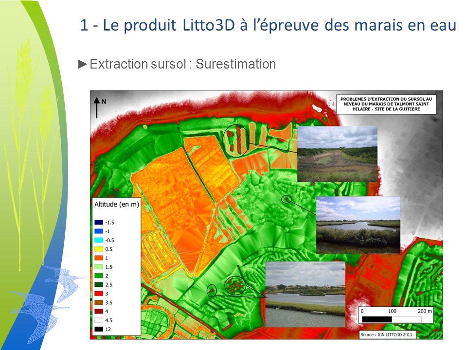 1 - Le produit Litto3D à lépreuve des marais en eau Extraction sursol : Surestimation 10