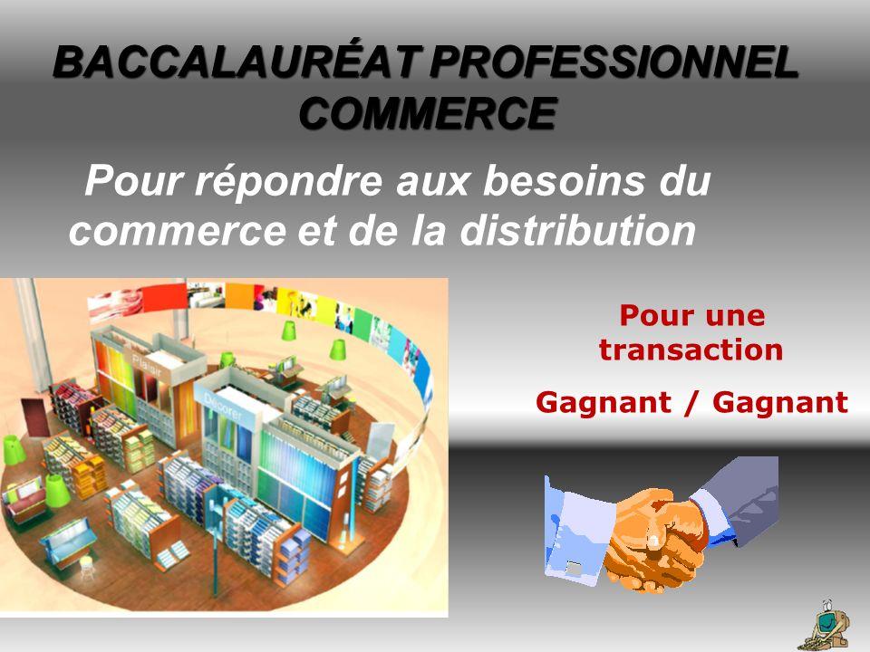 Pour répondre aux besoins du commerce et de la distribution BACCALAURÉAT PROFESSIONNEL COMMERCE Pour une transaction Gagnant / Gagnant