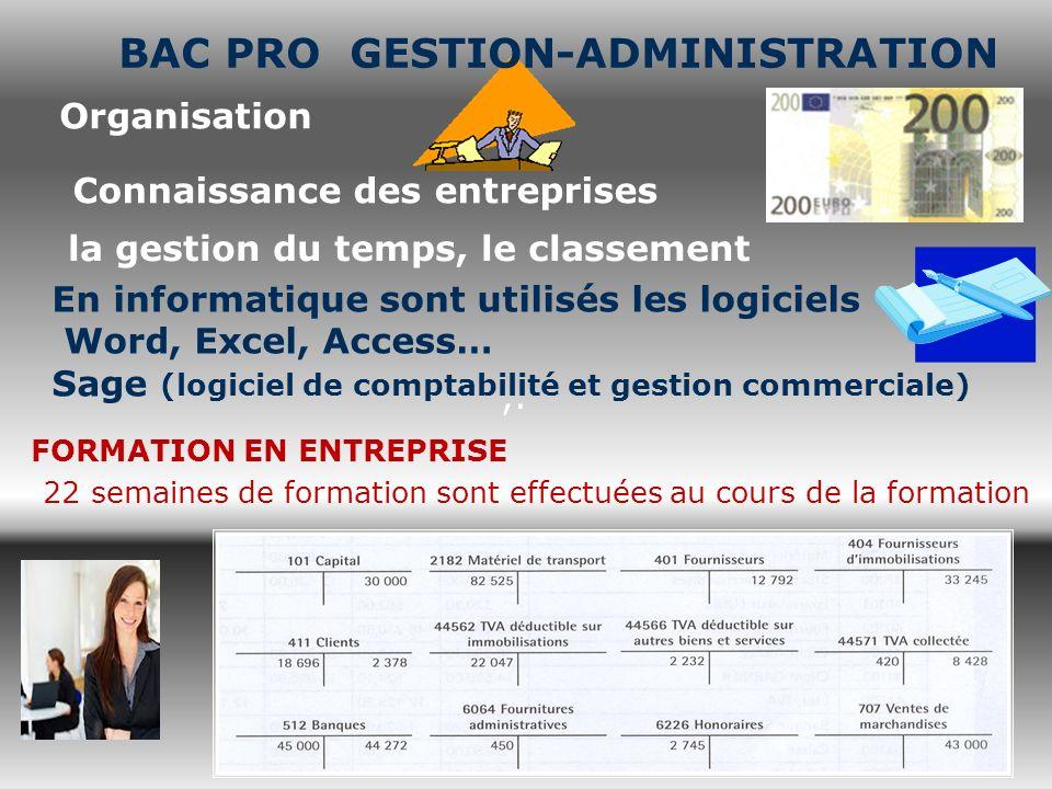 ,. Organisation Connaissance des entreprises la gestion du temps, le classement En informatique sont utilisés les logiciels Word, Excel, Access… Sage