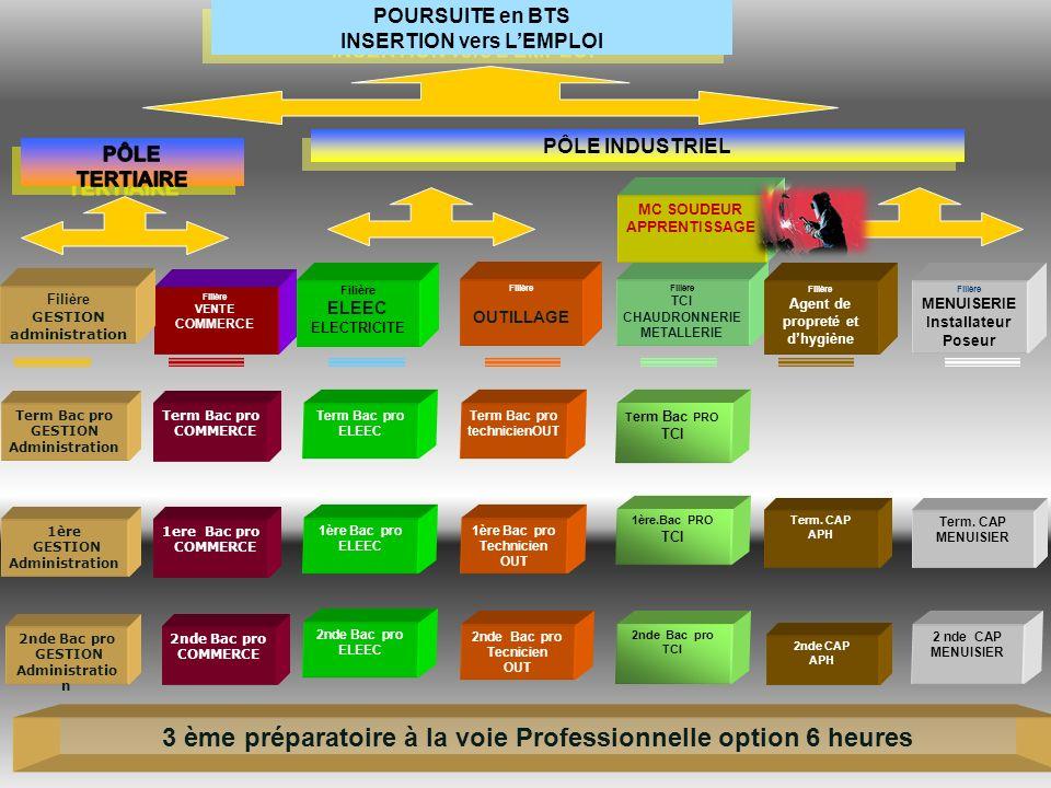 2nde Bac pro TCI Filière TCI CHAUDRONNERIE METALLERIE Term. CAP MENUISIER 2 nde CAP MENUISIER T erm Bac PRO TCI 1ère.Bac PRO TCI Filière ELEEC ELECTRI