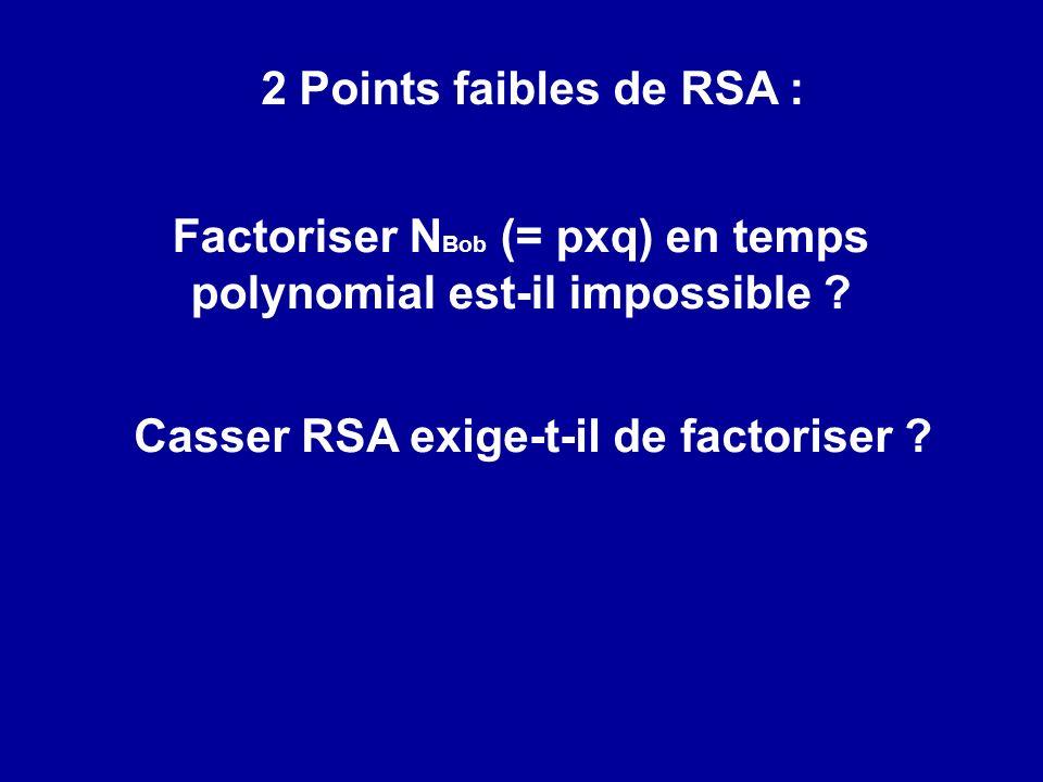 Factoriser N Bob (= pxq) en temps polynomial est-il impossible ? Casser RSA exige-t-il de factoriser ? 2 Points faibles de RSA :