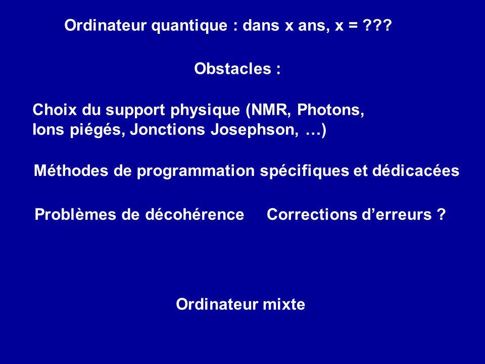 Ordinateur mixte Choix du support physique (NMR, Photons, Ions piégés, Jonctions Josephson, …) Corrections derreurs ?Problèmes de décohérence Ordinate
