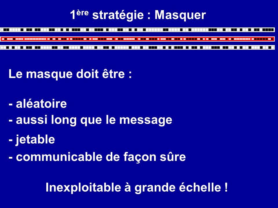 Le masque doit être : - aléatoire 1 ère stratégie : Masquer - communicable de façon sûre - aussi long que le message - jetable Inexploitable à grande