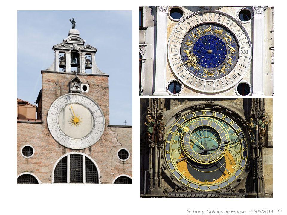 12/03/2014 11 G. Berry, Collège de France Les clepsydres gèlent, inventons léchappement ! Prieuré de Dunstable, 1283 Huygens ajoute le pendule et la c