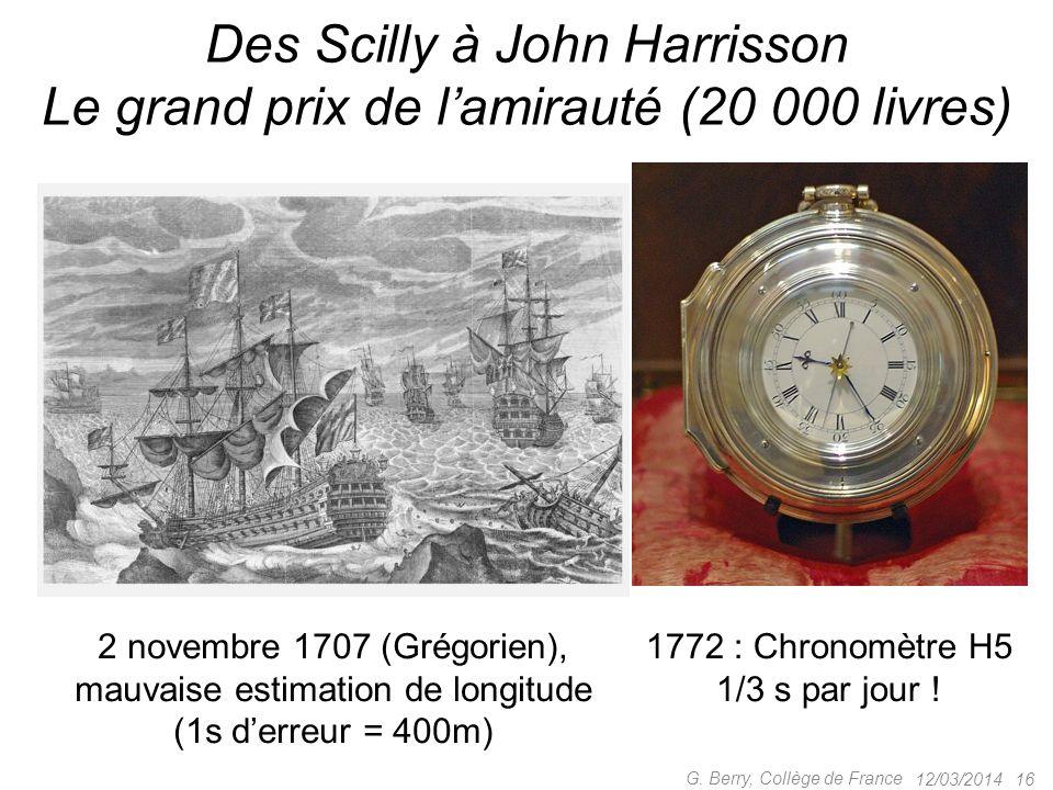 12/03/201415G. Berry, Collège de France Le calendrier Seuls deux calendriers actuels comptent vraiment –le calendrier vulgaire (ou Grégorien), encore
