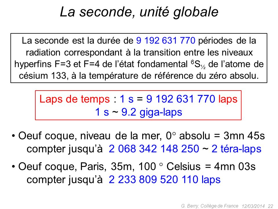12/03/2014 21 G. Berry, Collège de France Horloge atomique de poche ! < 120mW power consumption < 17cm 3 volume 35g weight ± 5 10 11 accuracy at shipm