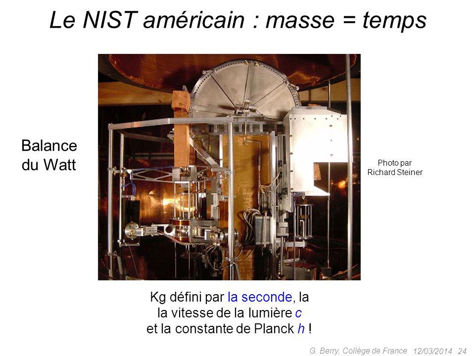 12/03/2014 23 G. Berry, Collège de France La fin de notre Kilogramme étalon? 90% platine, 10% Iridium h = d = 39,17mm Australie : sphère de silicium p