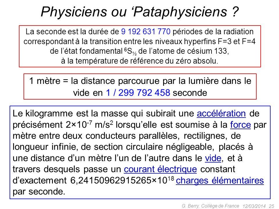 12/03/2014 24 G. Berry, Collège de France Le NIST américain : masse = temps Kg défini par la seconde, la la vitesse de la lumière c et la constante de