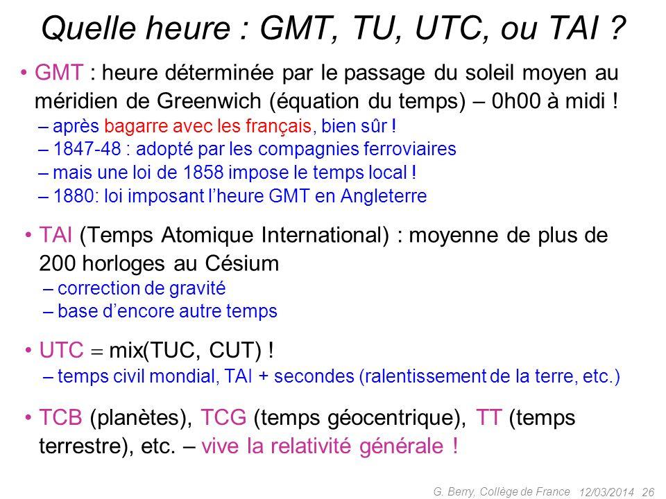 12/03/2014 25 G. Berry, Collège de France Physiciens ou Pataphysiciens ? La seconde est la durée de 9 192 631 770 périodes de la radiation corresponda