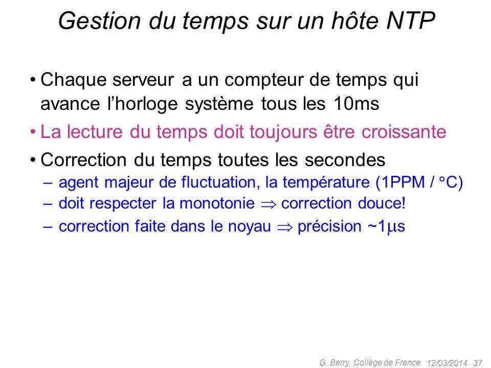 12/03/2014 36 G. Berry, Collège de France Format du temps dans NTP de la naissance de lunivers à la mort du soleil 232 ps 500 as (1 as = 10 18 s) era