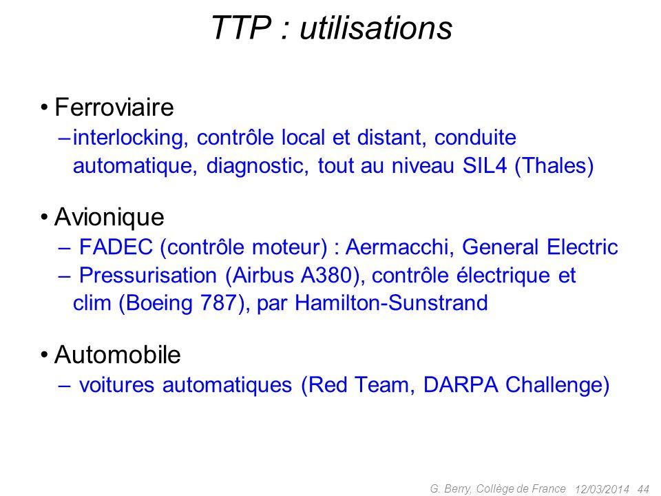 TTP : système de réseau et protocoles destiné au temps-réel critique –Hermann Kopetz, Vienna University ot Technology –Compagnies TTTech, HW Austria M