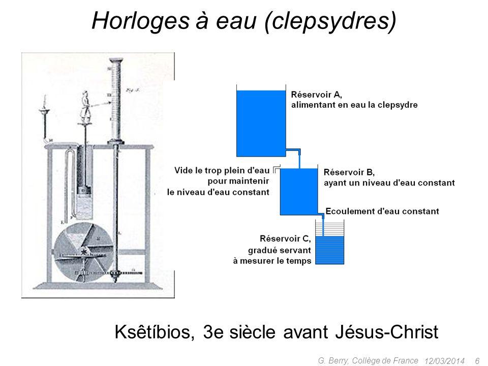12/03/2014 5 G. Berry, Collège de France Mesurer les durées sablier (jusquà 1 an !) corde à nœuds clepsydre
