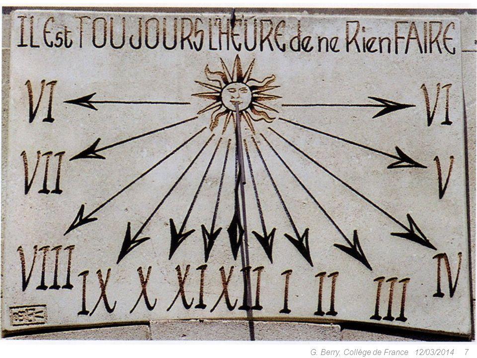 12/03/2014 6 G. Berry, Collège de France Horloges à eau (clepsydres) Ksêtíbios, 3e siècle avant Jésus-Christ