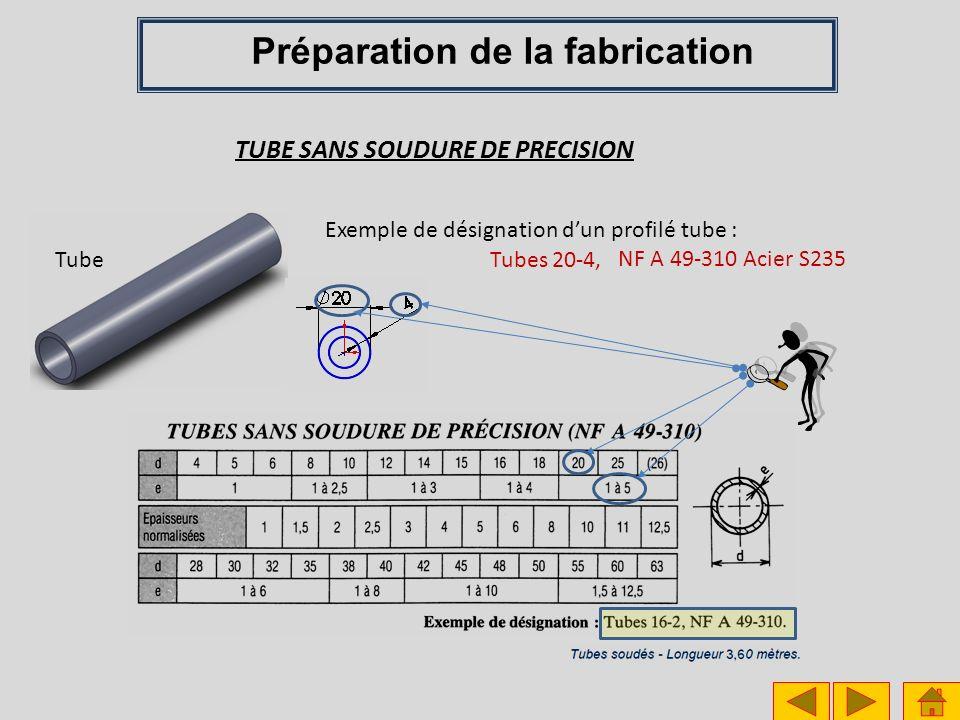 Tube TUBE SANS SOUDURE DE PRECISION Exemple de désignation dun profilé tube : NF A 49-310 Acier S235 Tubes 20-4, Préparation de la fabrication