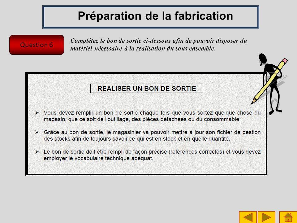 Question 6 Préparation de la fabrication Complétez le bon de sortie ci-dessous afin de pouvoir disposer du matériel nécessaire à la réalisation du sou