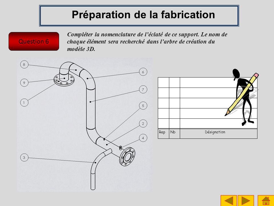 Question 6 Préparation de la fabrication RepNbDésignation Compléter la nomenclature de léclaté de ce support. Le nom de chaque élément sera recherché