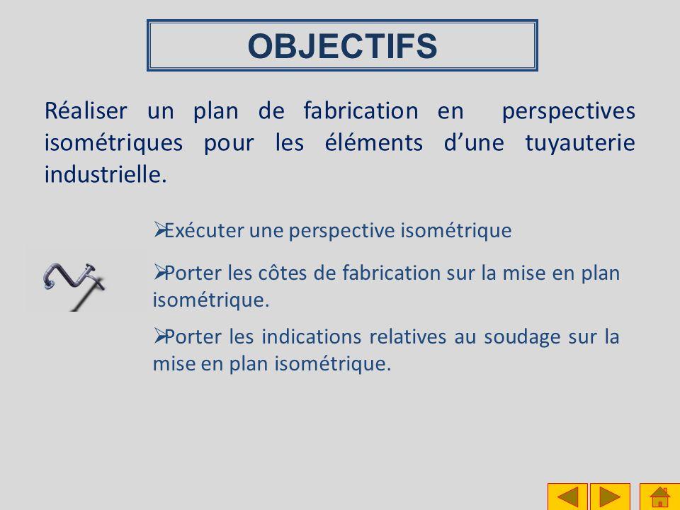 OBJECTIFS Réaliser un plan de fabrication en perspectives isométriques pour les éléments dune tuyauterie industrielle. Porter les indications relative