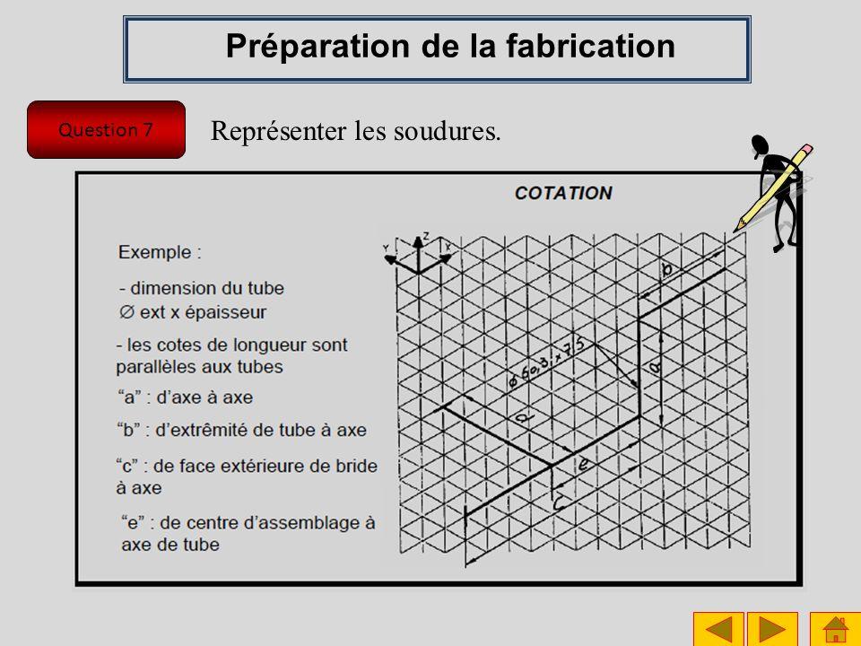 Question 7 Préparation de la fabrication Représenter les soudures.
