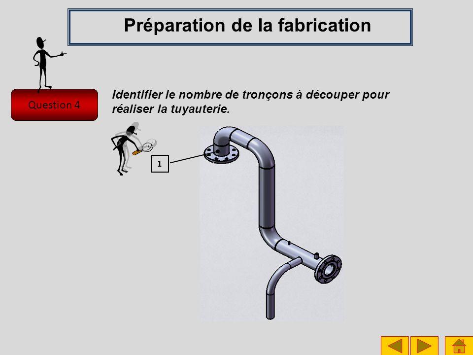 Question 4 Préparation de la fabrication Identifier le nombre de tronçons à découper pour réaliser la tuyauterie. 1