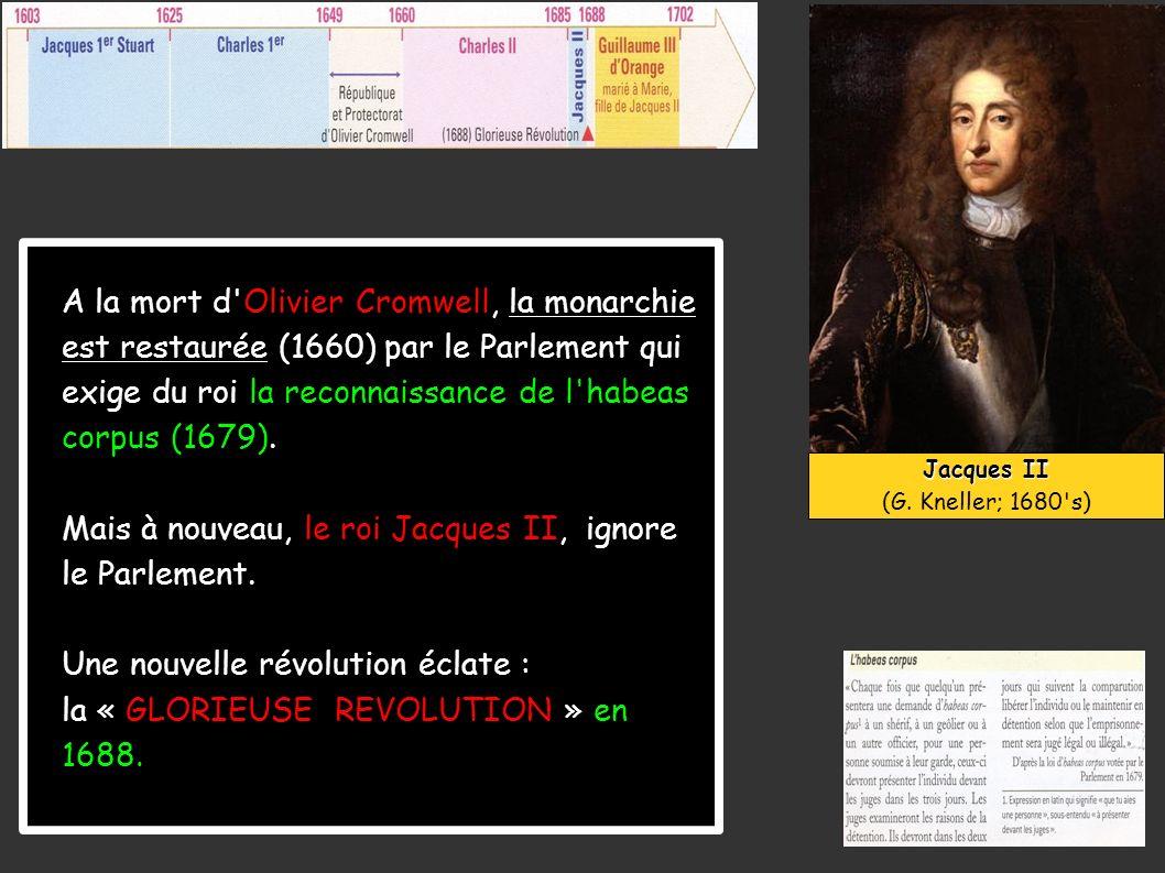 A la mort d'Olivier Cromwell, la monarchie est restaurée (1660) par le Parlement qui exige du roi la reconnaissance de l'habeas corpus (1679). Mais à